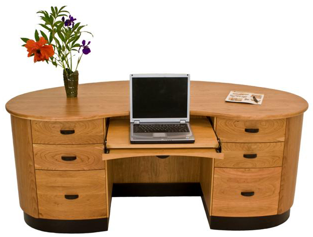 Handmade Modern Wood Furniture modern curved desk in natural cherry wood - vermont woods studios