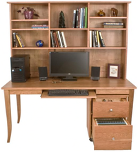 Computer Workstation: Desk, Bookcase and Hutch
