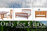 Storewide Summer Sale: 10% Off All Our Vermont Made Furniture